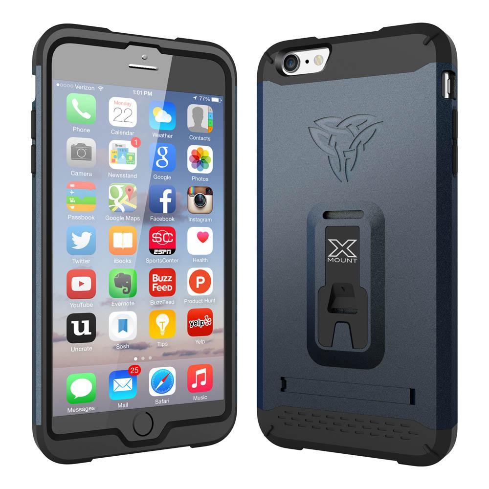 Armor-x cases Rugged Case Kickstand Belt Clip for iPhone 6 Plus Navy
