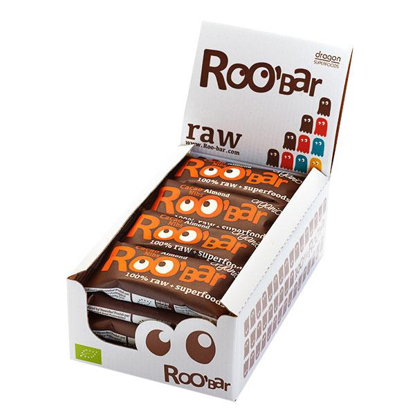 Roo´bar Raw Energy Bar Cacao Nibs And Almonds 50 G X 16