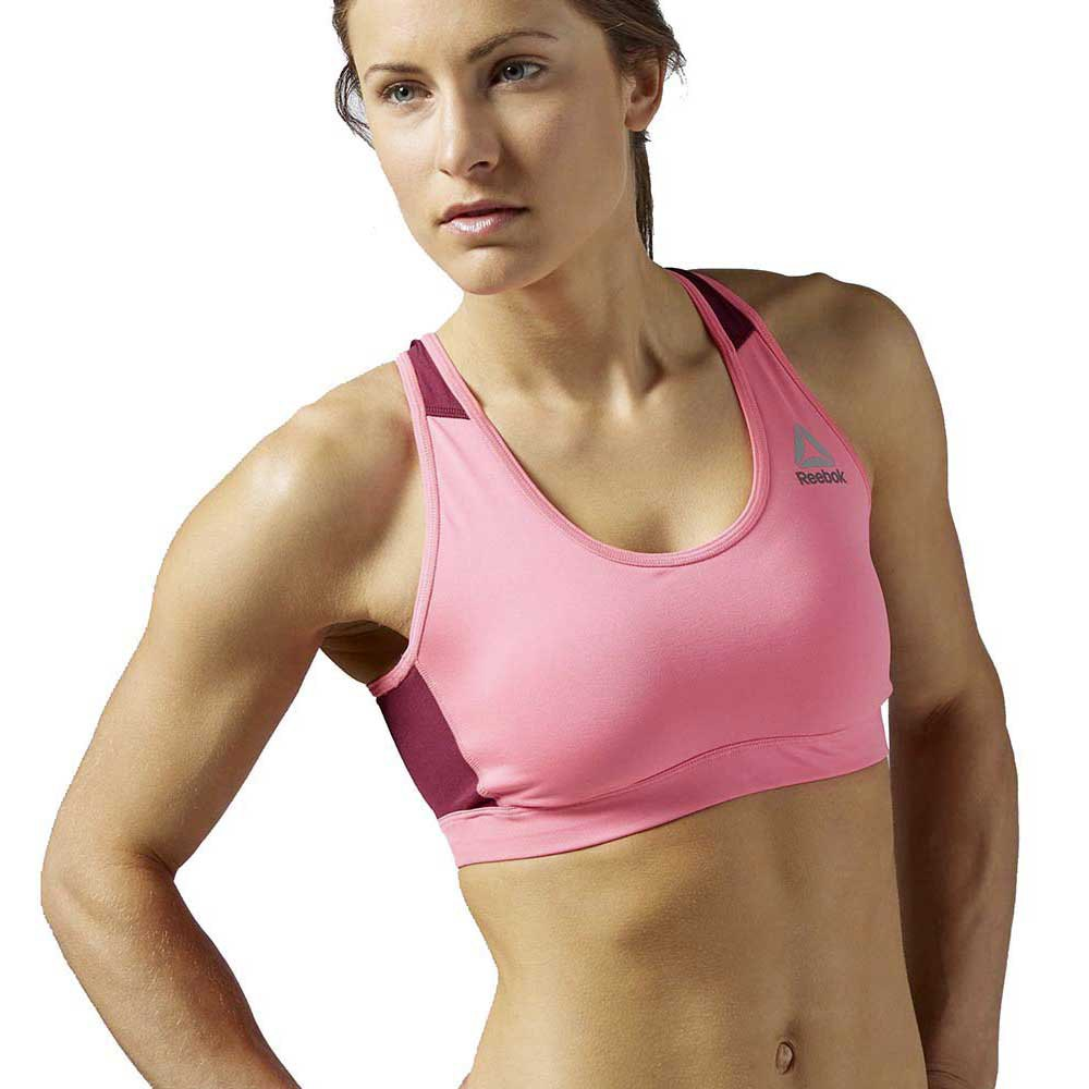 Reebok Workout Ready Stacked Logo Medium Support Bra