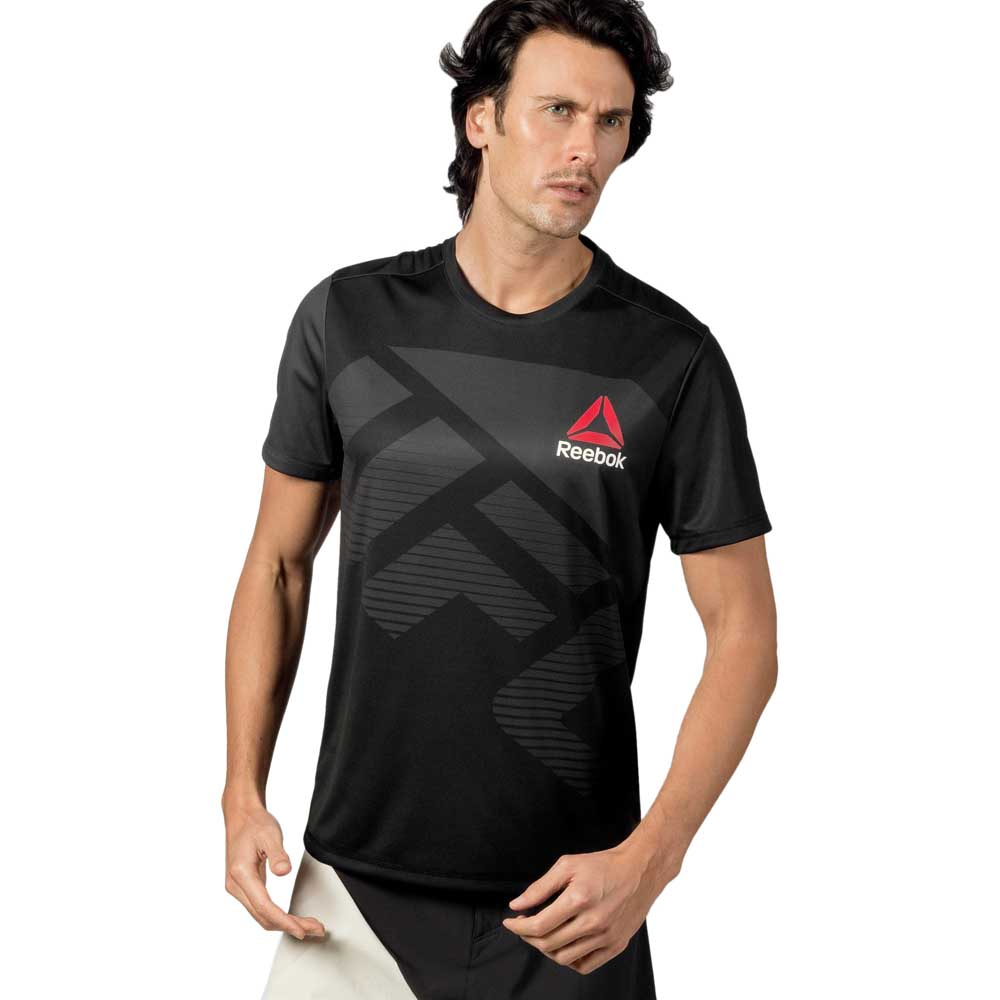 Herren Reebok UFC Fight Kit Blank Jersey T-Shirt schwarz