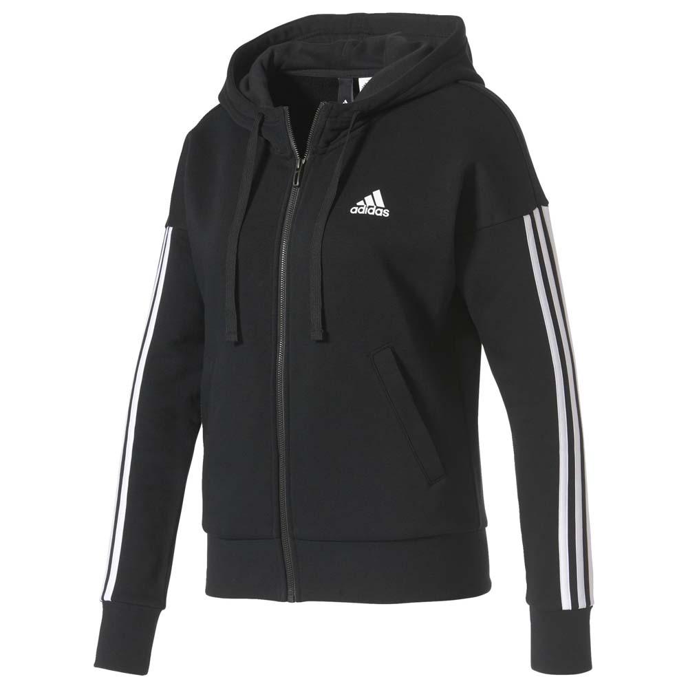 adidas Essentials 3 Stripes Full Zip Hoodie Schwarz, Traininn