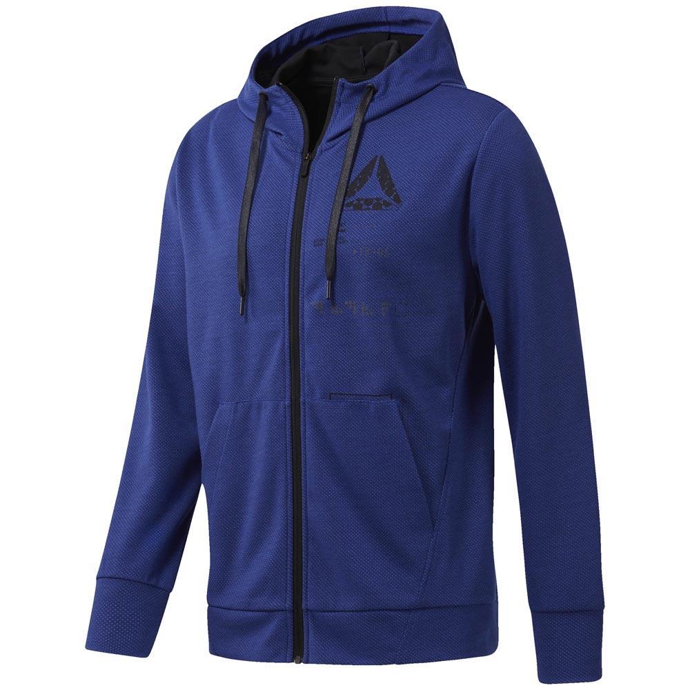 Reebok Mens SpeedWick Full Zip Hooded Sweat Hoody Hoodie Top Blue