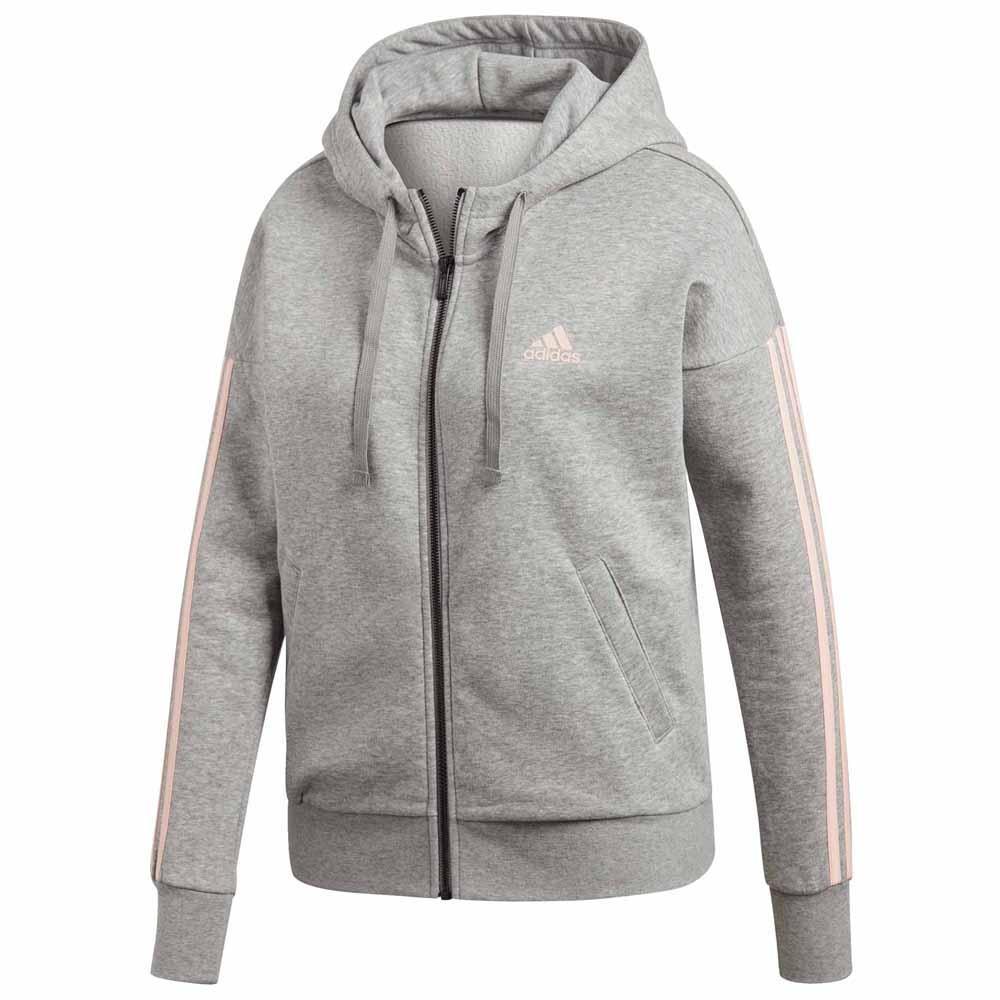 adidas black pink 3 stripe zip hoody